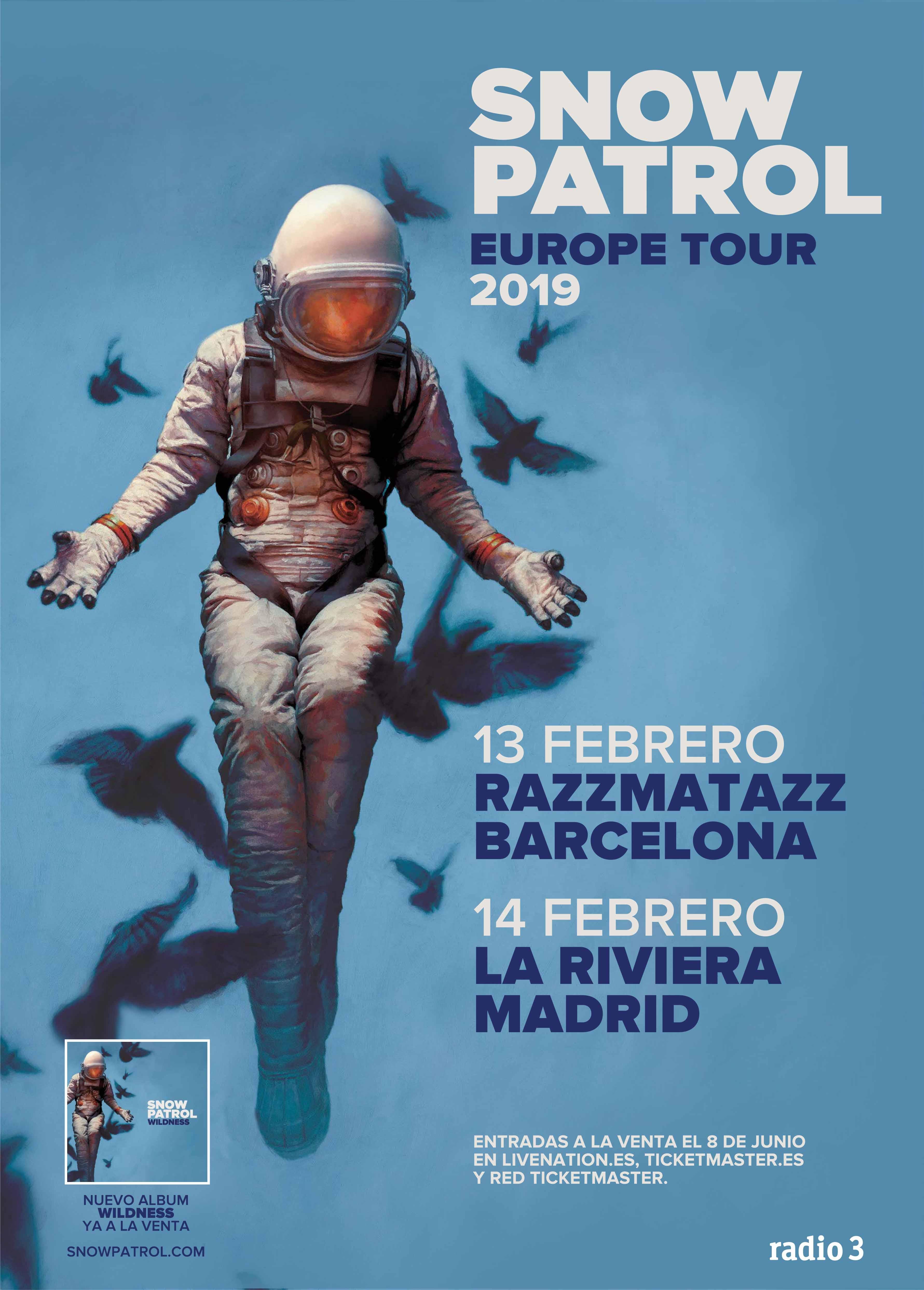 SNOW PATROL CONFIRMA NUEVAS FECHAS DENTRO DE SU GIRA EUROPEA: ACTUARÁ EN BARCELONA Y MADRID EN FEBRERO DE 2019