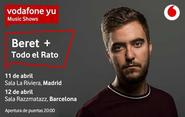 Beret Actuará en Madrid y barcelona con Vodafone Music Shows